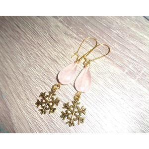 Snowflake Rose Quartz Teardrop earrings